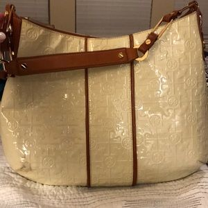 Off white and brown embossed Tory Burch bag